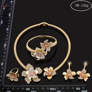 Image 5 - Yulaili fiori di lusso Boom donne fidanzamento zirconi cubici collana girocollo orecchini Dubai set di gioielli in oro dipendenza da gioielli