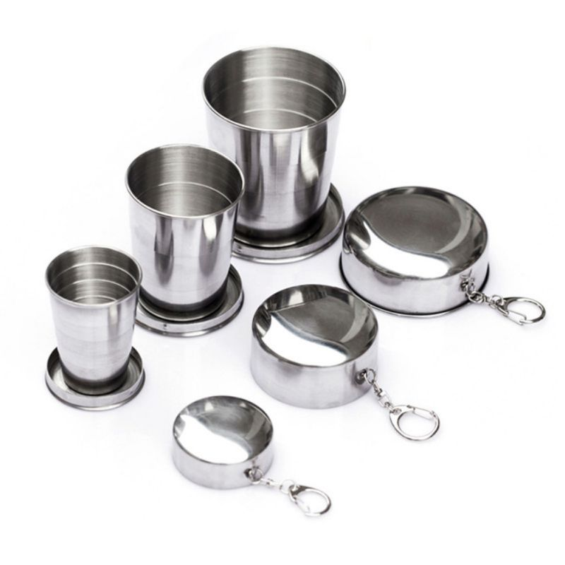 Stainless Steel Telescopic Cup Portable Travel Folding Cup Telescopic Outdoor Folded Cups Water Beer Glasses For Home Kitchen