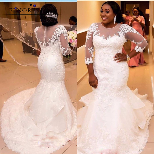 Elegant African Plus Size Wedding Dresses 2019 Long Sleeve Bridal Gowns Handmade Robe De Mariee Lace Illusion Wedding Dress