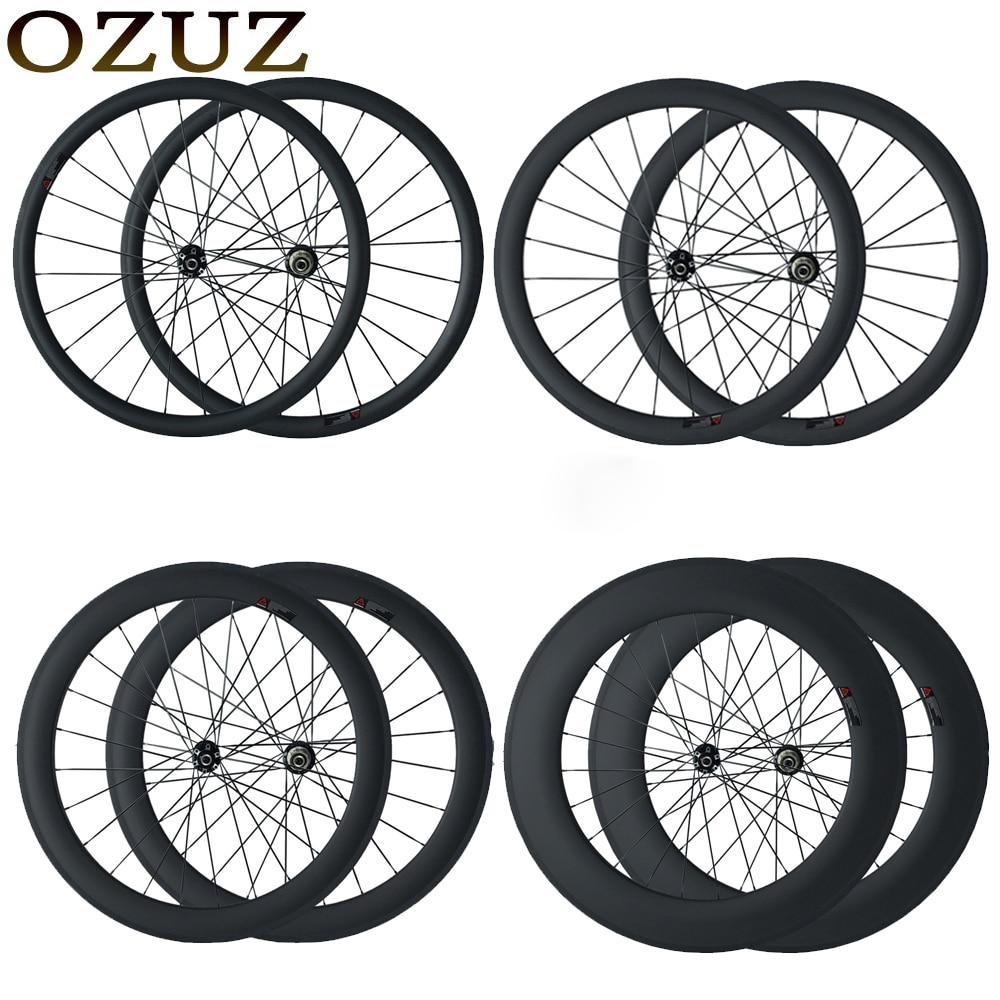 OZUZ de freno de disco de ciclocross de ruedas de bicicleta de 23mm de ancho cubierta tubular 24mm 38mm 50mm 88mm chino 700C 3 K mate de fibra de carbono ruedas