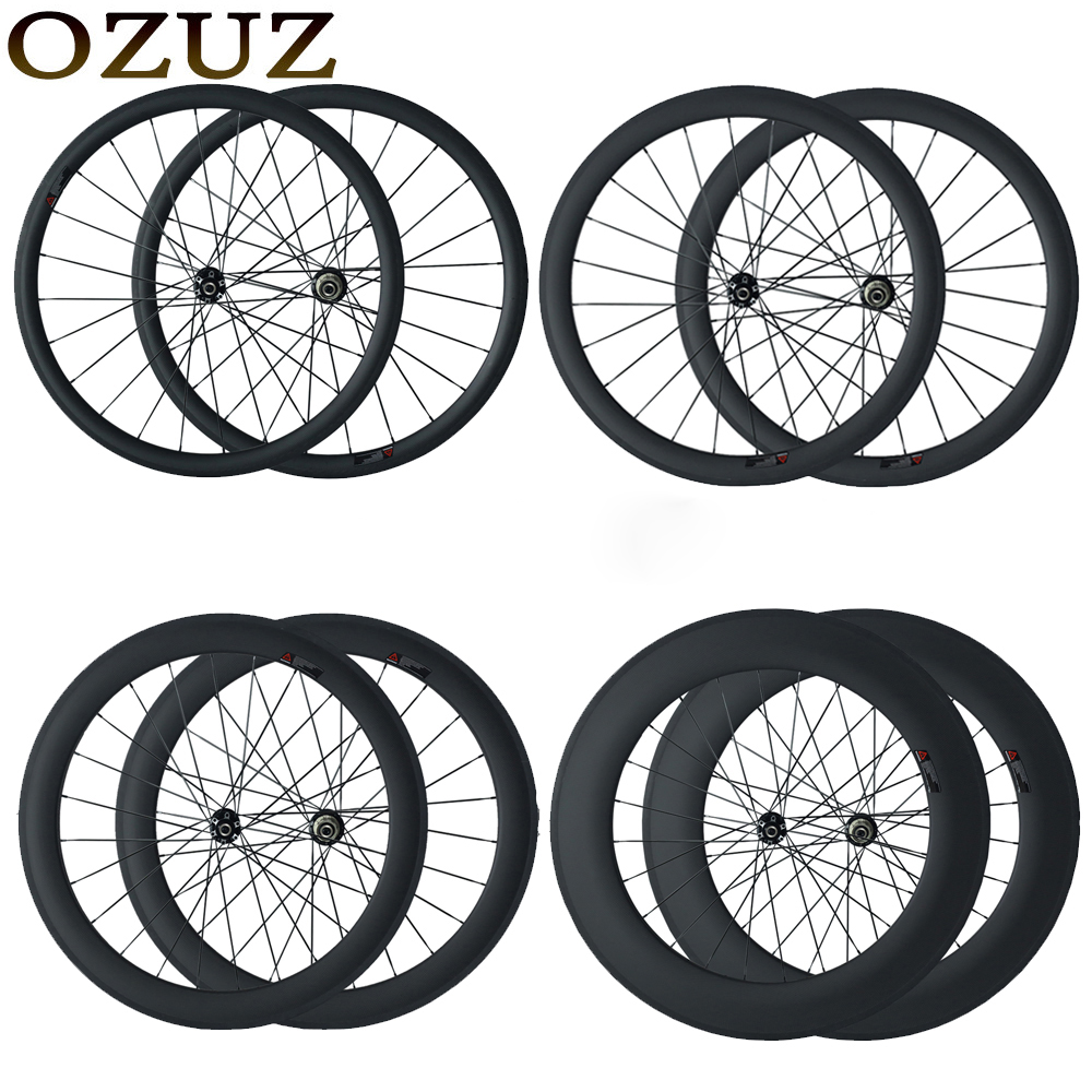 OZUZ disc brake cyclocross bike wheels 23mm wide clincher tubular 24mm 38mm 50mm 88mm chinese 700C 3k matte carbon fiber wheels цена