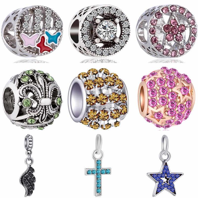 Venda quente de Cristal Estrela Esmalte Asa de Borboleta Sapatos Cruz Minnie Contas Fit Pandora Encantos Pulseiras para Mulheres DIY Jóias Bijoux