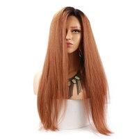 Блондинка Ombre прямые 360 синтетические волосы на кружеве Искусственные парики 1B 30 180 плотность бразильский волосы remy 360 Искусственные парики