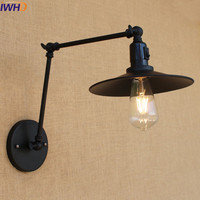 Vintage industrial style loft Iron Black Wall Light Switch aisle stairs creative minimalist restaurant bar long arm wall lamp