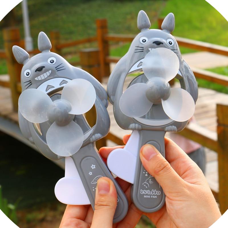 Cute cartoon Totoro fan mini fan student portable manual environment friendly cool fan creative handheld toy