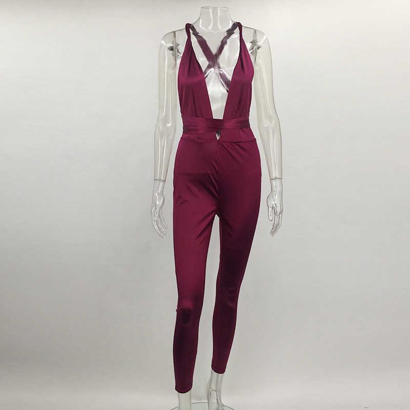 Tobinoone 2017 Женский комбинезон с глубоким v-образным вырезом, летний сексуальный красный Облегающий комбинезон, бандажный комбинезон, длинные штаны, костюм для женщин, s одежда