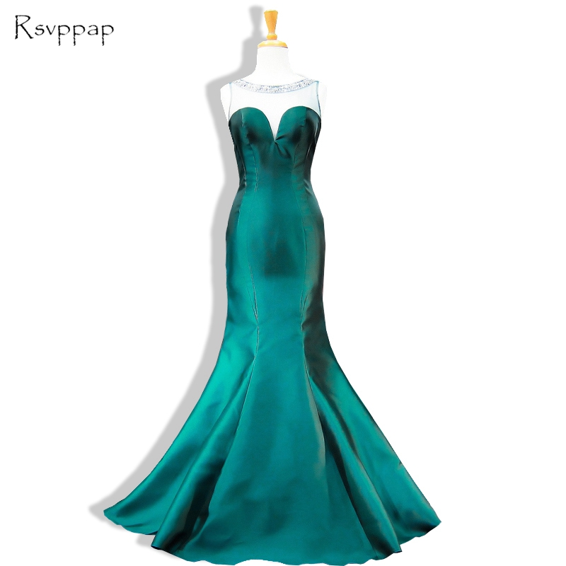 Special Occasion Dresses 2017 Mermaid Sheer Scoop Beaded Backless Floor Length Party Women Emerald Green Evening Dress