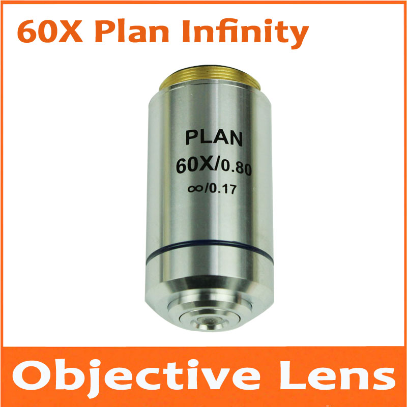 1pc 60X 195 Metal Infinity Plan Achromatic Objective Lens Educational Olympus Biomicroscope Biological Microscope 20.2mm