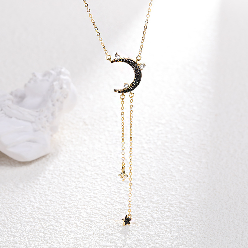 925 Sterling Silver Black Moon Star Zircon Pendant Necklace Gold Plating Vintage Chain Necklaces For Women bijoux femme ketting in Pendant Necklaces from Jewelry Accessories