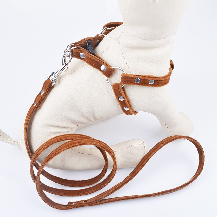 S,M,L Soft/&Comfortable Classic Genuine Leather /& Tweed Pet Collars and Lead