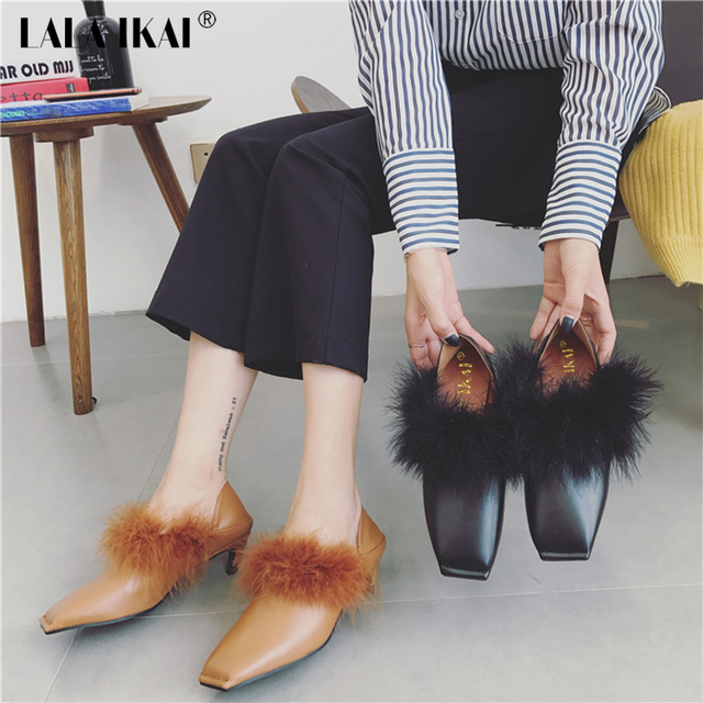 785efb6b31 LALA IKAI Fur Kitten Heels Pumps Pointed Toe PU Leather Women's High Heel  Shoes Sexy Wedding Shoes Evening Party Shoes 40C0989-4