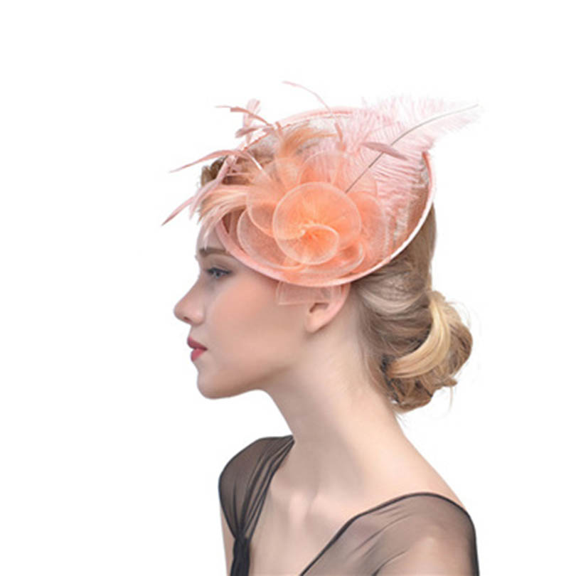 Women Party   Headwear   Feather Hair Fascinator Hair Clip Headband Mess Wedding Royal Races decore