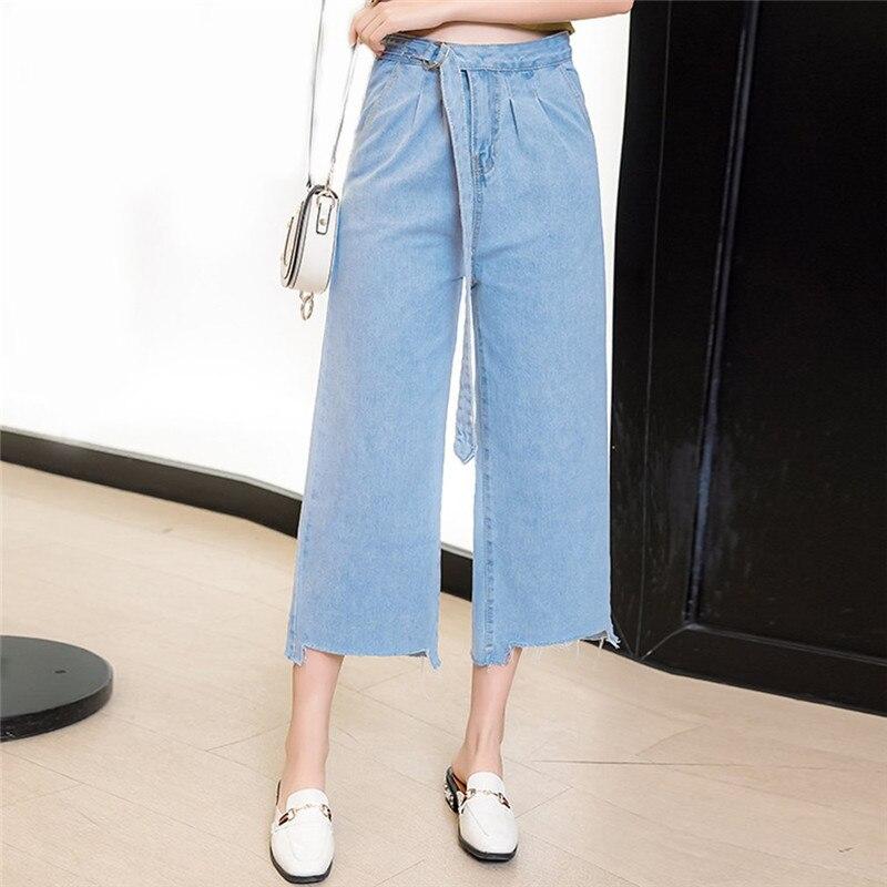 2017 Autumn Spring Loose Wide Leg Long Jeans Pant Women Ankle Length Lace up Pants Casual Trousers High Waist Tie Denim Trouser loose lace up casual mens pencil pants
