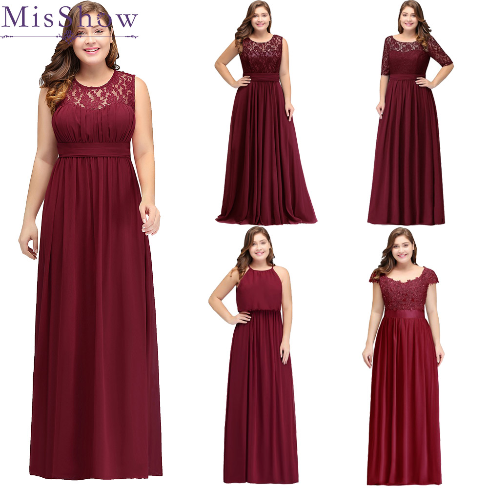 Cheap Wedding Dresses Size 6: 2019 Long Cheap Bridesmaid Dresses Lace Plus Size