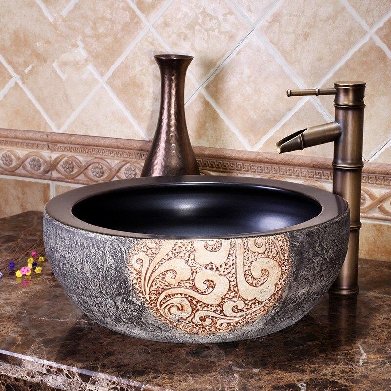 US $277.0 |Chinesische Garderobe Zähler Top porzellan waschbecken  badezimmer waschbecken keramik kunst garten waschbecken-in Bad Waschbecken  aus ...