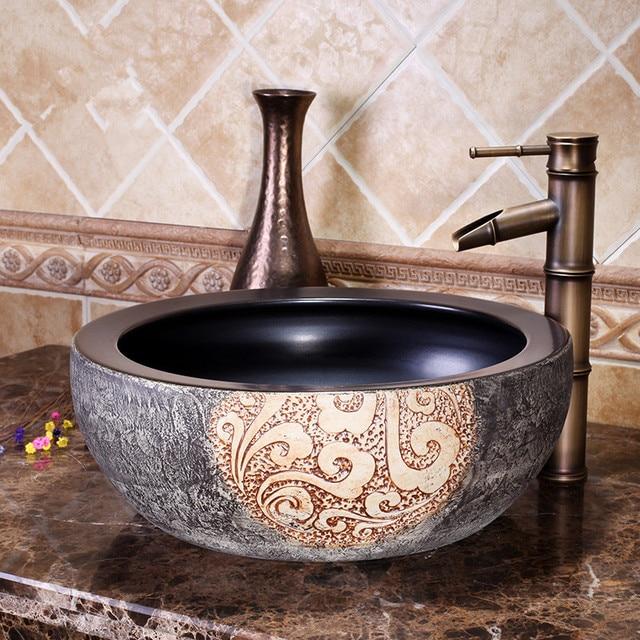 Chinesische Garderobe Zähler Top Porzellan Waschbecken Badezimmer