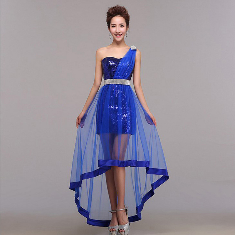 794a3ace40a7 New high low dress Royal blue red short prom dress sequin dress  one-shoulder sexy light blue gold prom dress