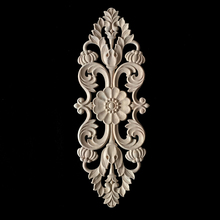Flower Carving Natural Wood Appliques for Furniture Cabinet Unpainted Wooden Mouldings Decal Decorative Figurines Craft