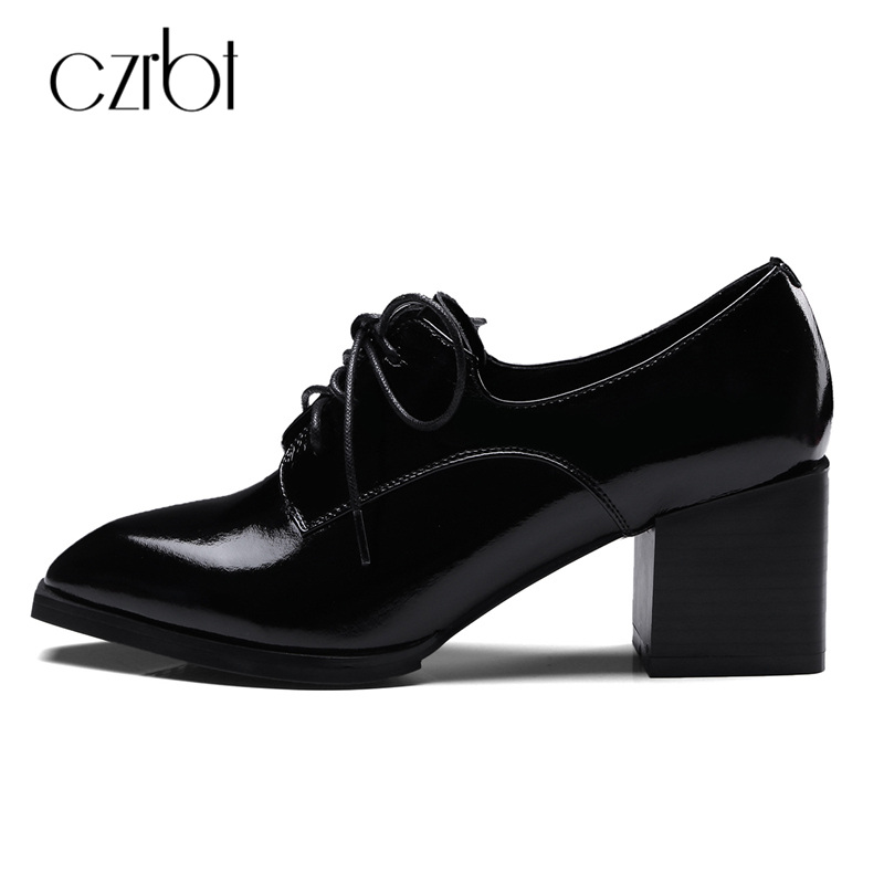 CZRBT Retro Style Pointed Toe Genuine Leather Women Ankle Boots High Heels 6.5cm Patent Leather Deep Color Women Casual Shoes czrbt geniune cow patent leather front zipper women high heels 8cm boots ladies brand style mid calf shoes women 100