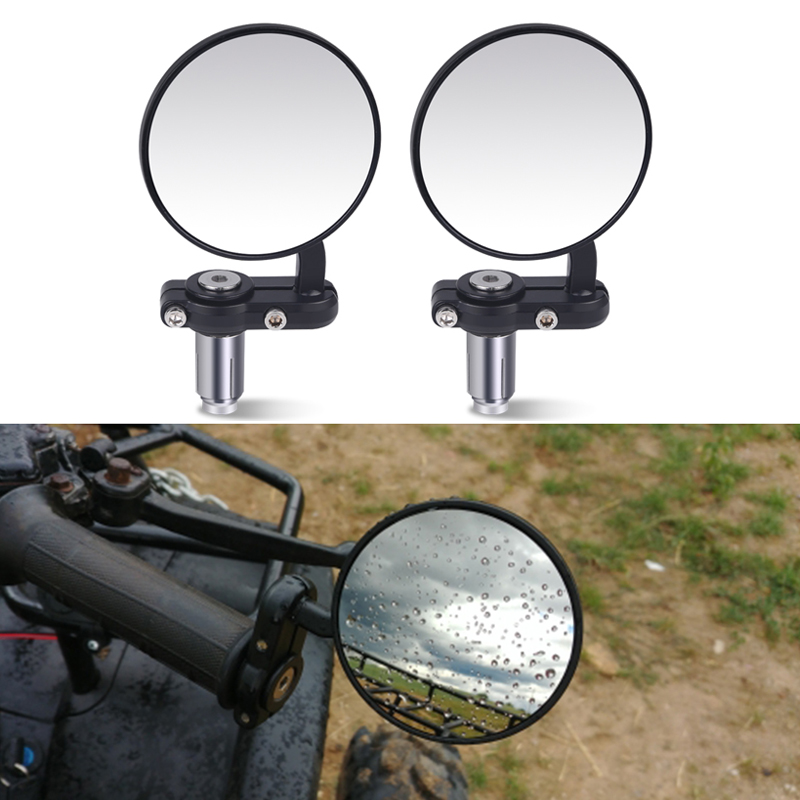 2Pcs Motorcycle Rear Mirror Motorcycle Handlebar End Mirror 22mm for Cafe Racer Black Handle 7/8