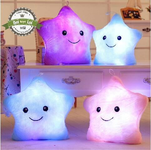 Hot Sale Plush toys Stuffed childrens toys kawaii cushion/pillow smiling lighting star wonderful luminous gift