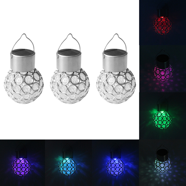 7 Color Changing Garden Outdoor Lighting Solar Ed Hanging Light Gl Globe Lantern Ball Lights For Decoration