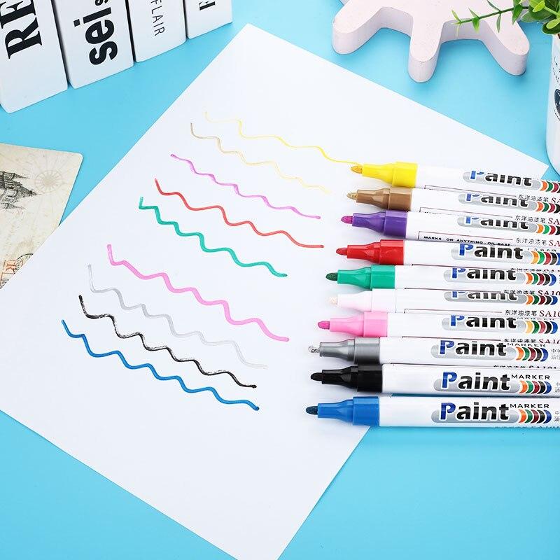 10 цветов водонепроницаемая автомобильная шина масляная автомобильная краска ручка краска ing Mark Ручка Авто резиновая шина протектора CD металлический маркер с перманентной краской
