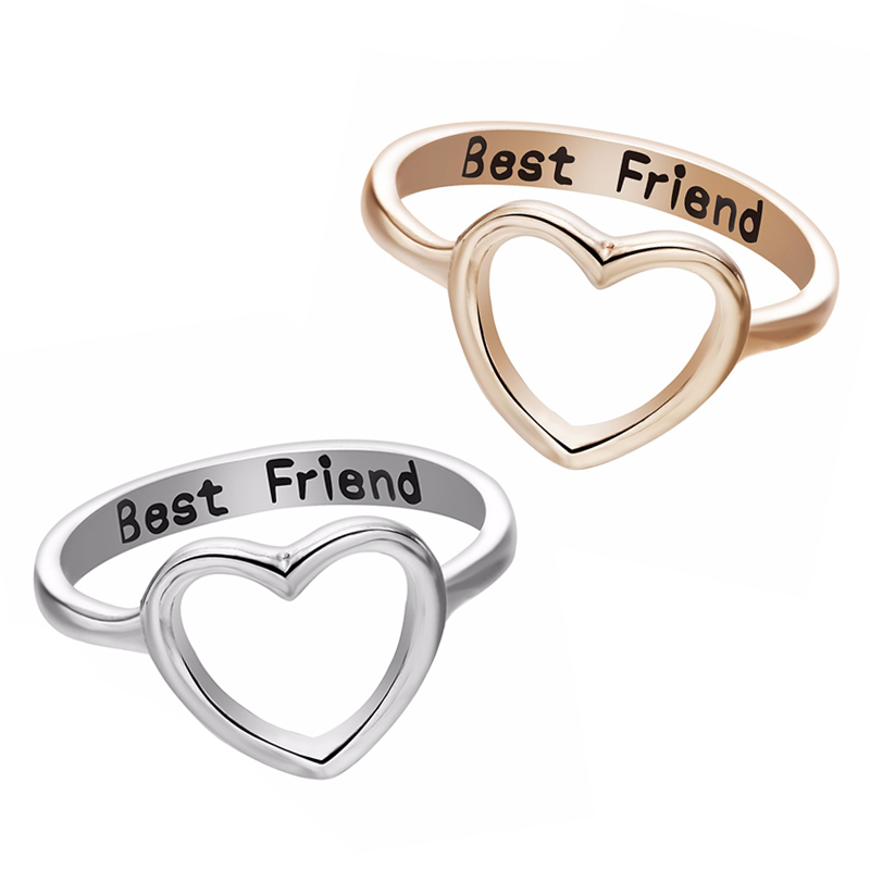 Dropshipping Gold/Silver Color Heart Shaped Rings For Women's Best Friend Minimalism Love Ring Women Jewelry