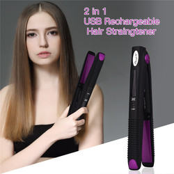 Portable Wireless Hair Straightener Curler 2 in 1 USB Rechargeable Hair Straightening Curling Flat Iron Hair Styling Tool P47