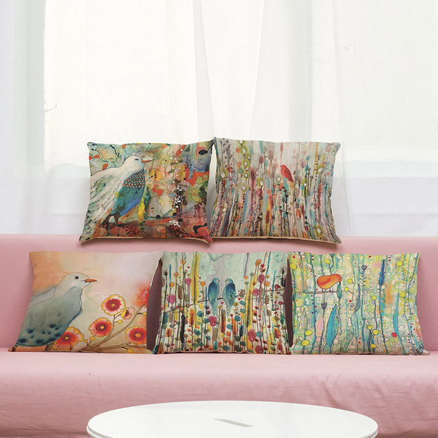 Cushion Cover Hand Painted Oil Painting Design Linencotton Pillow Awesome Hand Painted Decorative Pillows