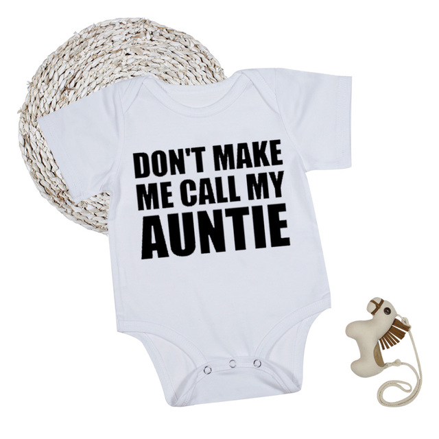 e78ebd9189d Auntie Baby Clothes Boy Girl Bodysuits Short Sleeve White Summer Funny Baby  Onesie Infant Toddler Newborn Clothes 1st Birthday