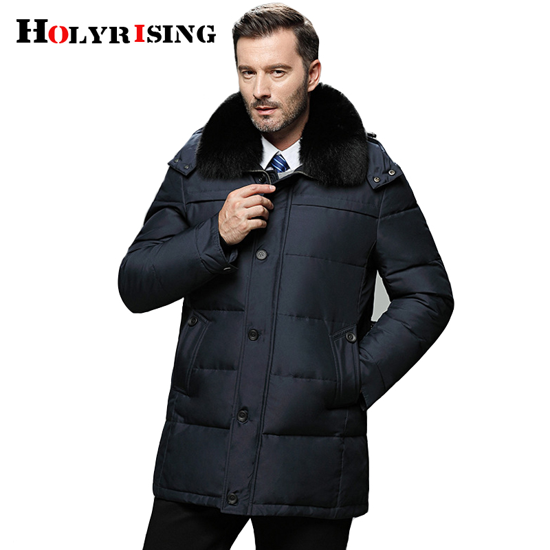 Holyrising 2018 Winter Thick Hood Detached Warm Men Duck   Down   Overcoat Thermal Male Big size Parka white duck   down     coat   18570-5