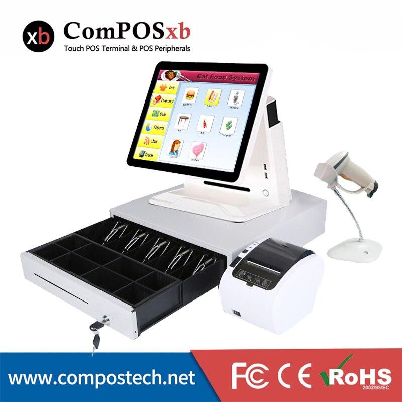 O envio gratuito de tela sensível ao toque POS máquina de alta configuração I5/4G/128 GB SSD Windows POS terminal com MSR cartão rader sistema pos