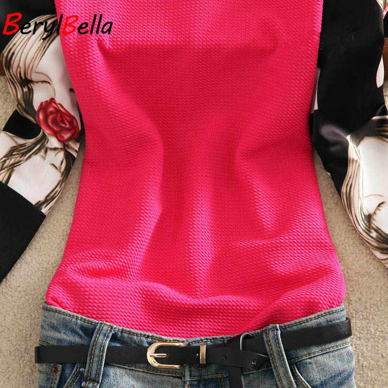 BerylBella 2019 Women Blouses Summer Stand Collar Chiffon Blusas Slim Long Sleeve White Red Tops Girls Printed  Feminina Shirts