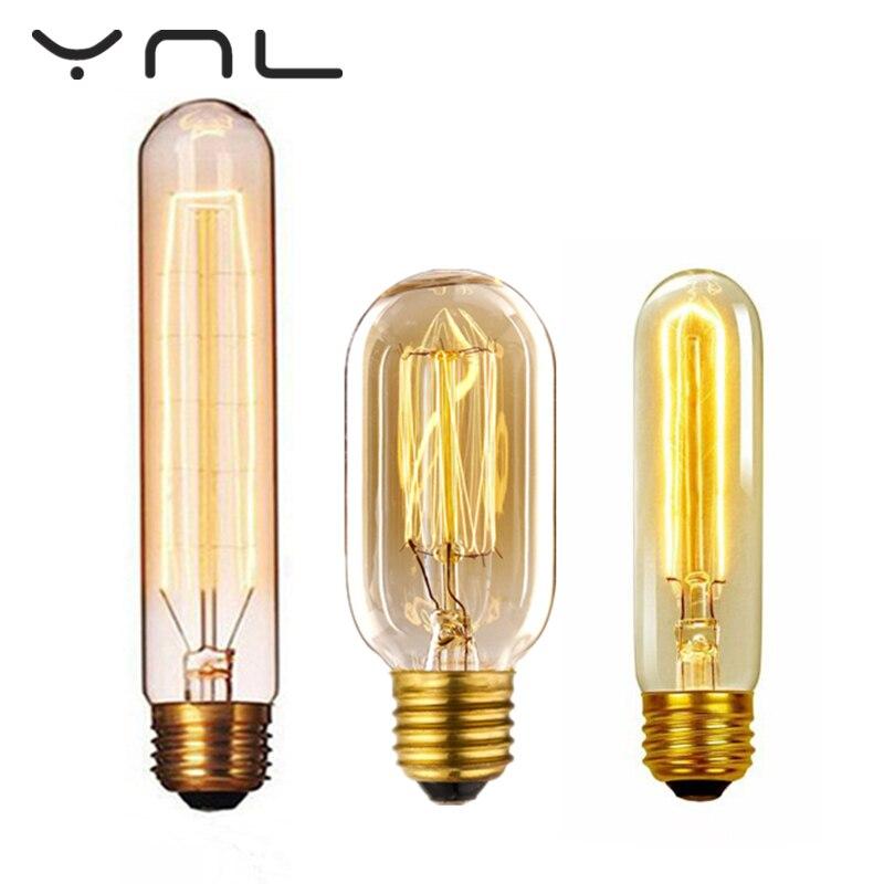 Retro Edison Light Bulb Lamp E27 220V 40W T185 T10 T45 filament ampoule vintage Incandescent bulb