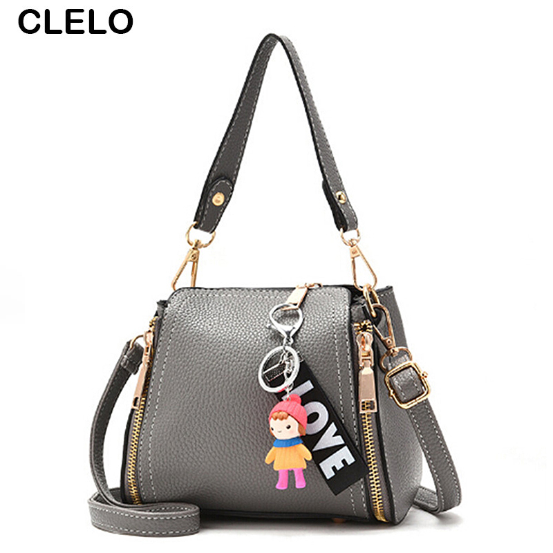 CLELO New Design Women Cute Pendant Shoulder Bags Female Pu Leather Mini Small Clutch Handbag Girls Brand Mobile Wallet Bag