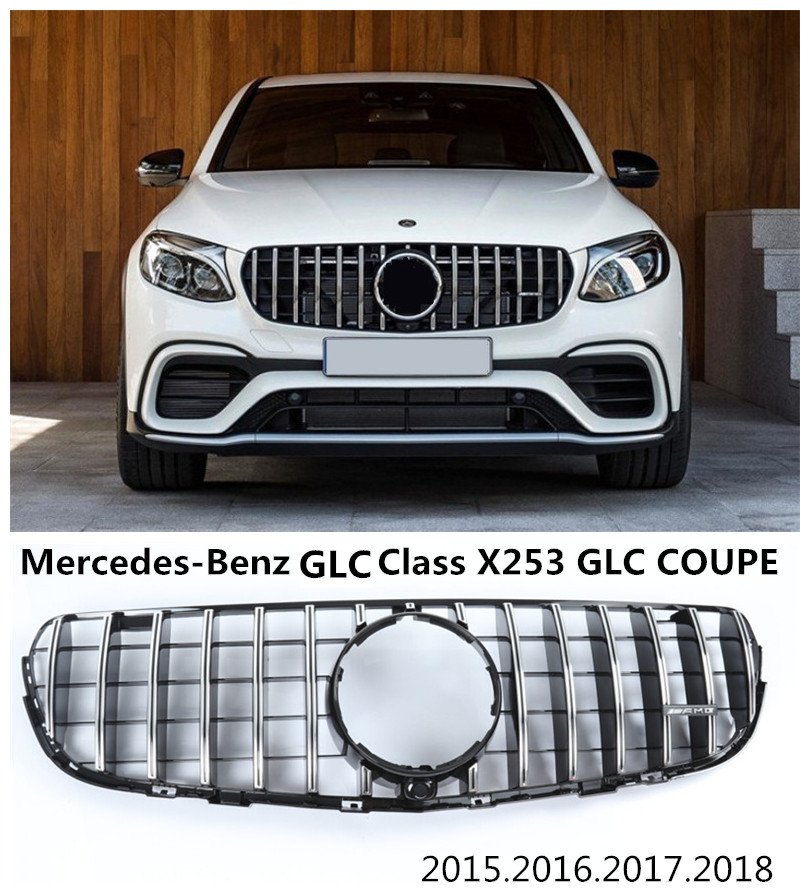 Auto Grille Racing Grills For Mercedes-Benz GLC Class X253 GLC COUPE GLC63 GLC200 260 300 2015-2018 High Quality ABS AMG Style glc coupe решетка радиатора amg