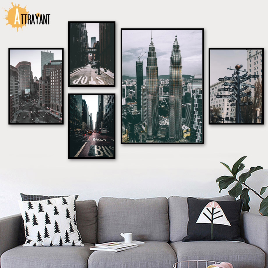 City Landscape Tower Street Scenery Wall Art Canvas Painting Nordic Posters And Prints Pictures For Living Room Home Decor