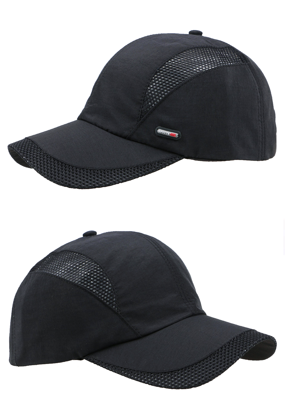Cool Comfort Breathable Quick Dry Cap - Black Cap Left and Right Angle Views