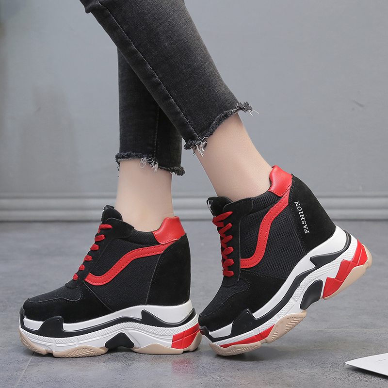 Lucyever New Height Increasing Ankle Boots Women Casual Shoes Woman High Heels Wedges Platform Vulcanized Shoes Zapatos Mujer wedges women boots 2017 new platform shoes woman creepers slip on ankle boots fashion flats casual women platform shoes zapatos
