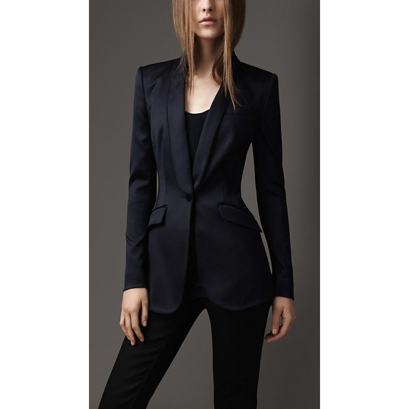 Handsome Fashion Black Women Tuxedos Shawl Lapel Suits For Women One Button Business Women Suits