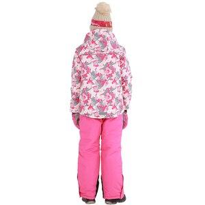 Image 3 - 2020 겨울 스키 정장 소녀 양털 후드 어린이 스노우 세트 자켓 오버올 방풍 야외 스포츠 어린이 의류 세트