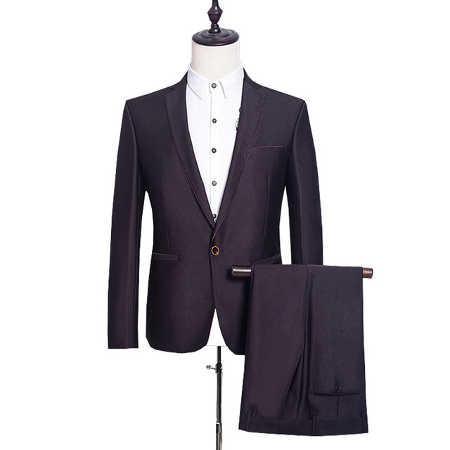 (Chaquetas + Pantalones) hombres de negocios vestido traje marca formal  slim fit casual Trajes b677bd86079e