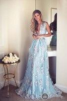 Light Blue Appliques Beach Wedding Dresses Sexy Deep V Neck Illusion Back A Line Bridal Gowns