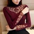 48 nova primavera inverno Coreano cultivar vestido de tricô rendas flor de Lapela camisola F1508