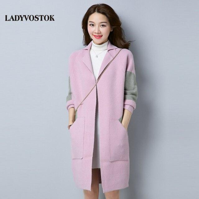 Ледивосток весна 2018 удлиненный кардиган свободное женское пальто 2017 корейский стиль новинка теплый свитер R1188