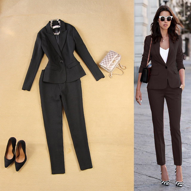 492021b9f6a Professional women pants suit fashion business formal slim long sleeve  blazer with trousers office ladies plus size work wear