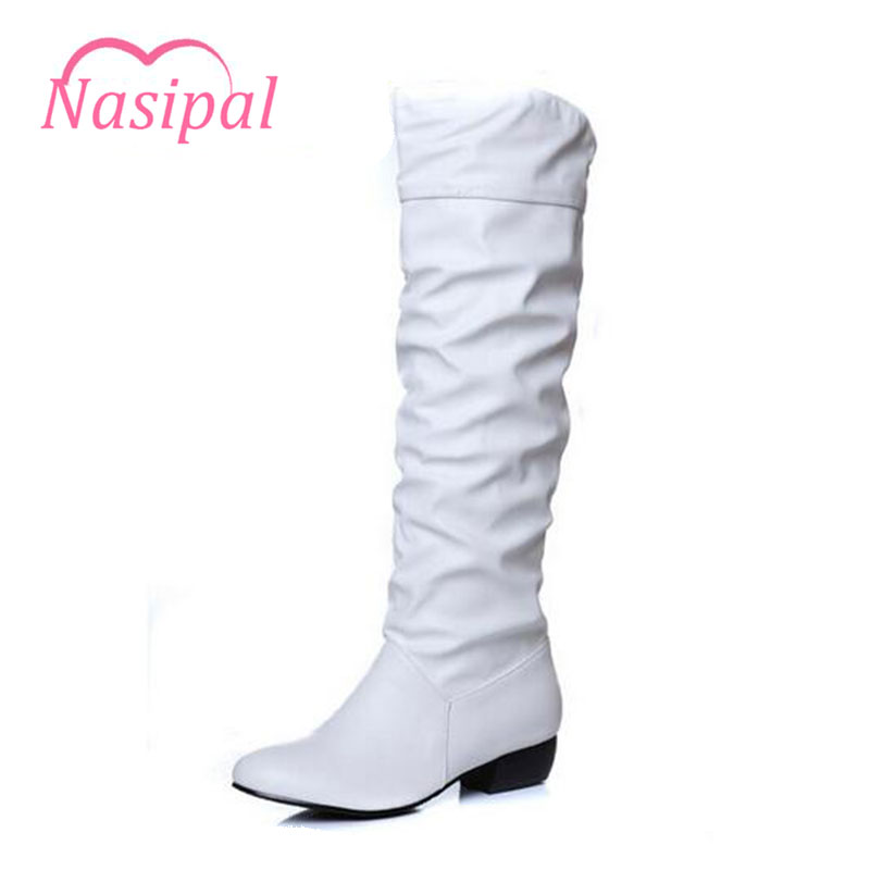 Nasipal Boots fashion new arrival Winter Mid-Calf Women Boots Black White Brown Low heels half boots autumn Snow shoes C055 mid calf women boots black white brown big size 34 43 new winter mid calf women boots black white brown for choice flats shoes
