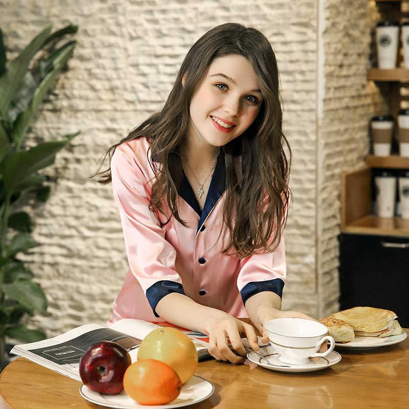 Розовый синий шелковый атлас Летние пижамы комплект для Для женщин девочек домашняя одежда для отдыха Двойка пижамы шорты женские пижамы