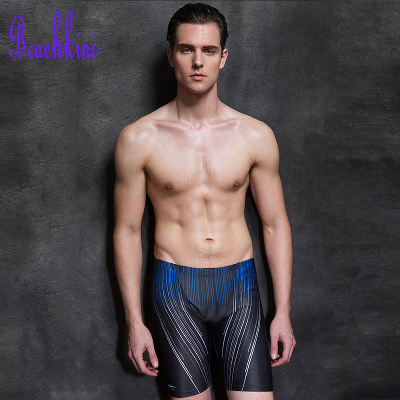 2017 Men Swimming Short Pants Swimwear Stripes Print Swim Briefs Long Leg Shorts Beach Boyshorts Tight Bathing Suit